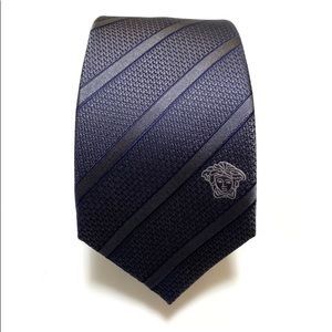 Versace Stripped 100% Silk Tie In Charcoal blue